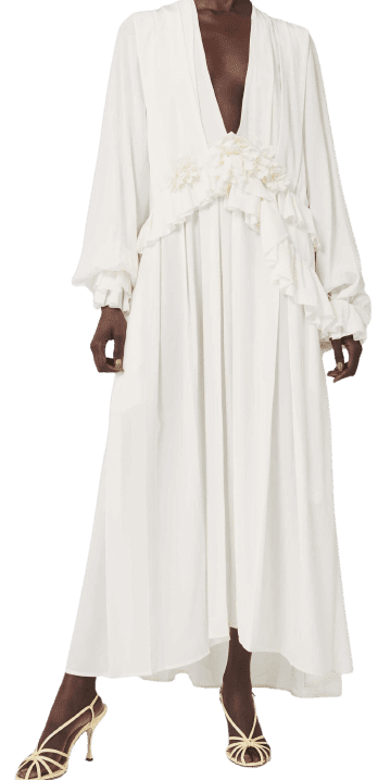 Vanilla White Deep V Ruffle Dress