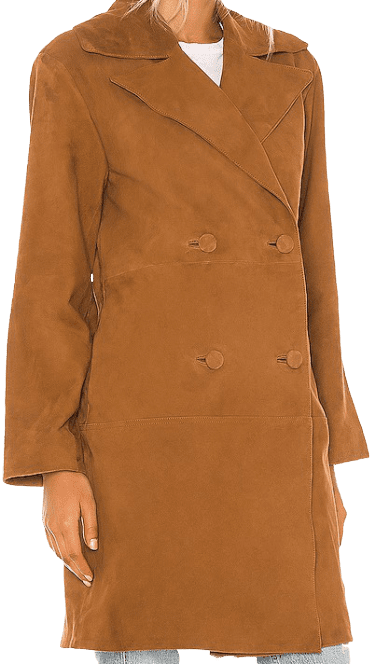 Warm Tobacco Song Leather Trench Coat