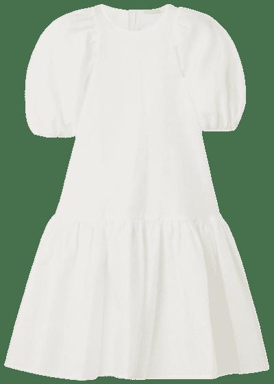 White Alexa Oversized Tiered Cloqué Dress-Cecilie Bahnsen