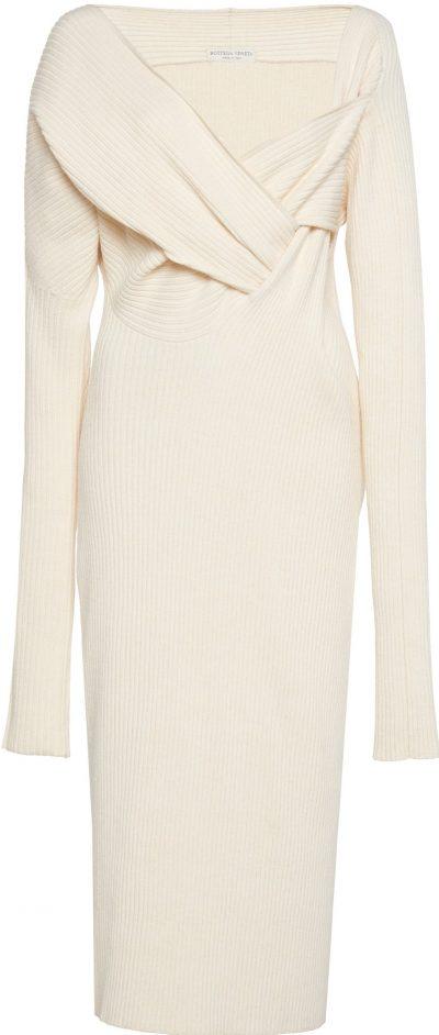 White Asymmetric Draped Knitted Midi Dress