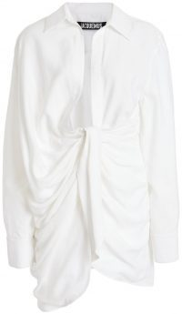 White Bahia Gathered Crepe Mini Dress-Jacquemus
