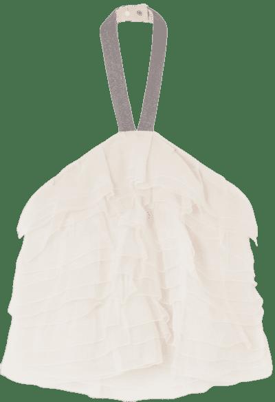 White Bead-Embellished Tiered Silk-Chiffon Halterneck Top