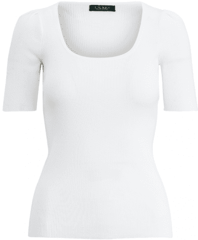 White Cotton-Blend Puff-Sleeve Top