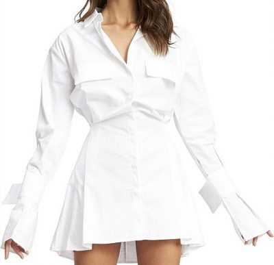 White Cover Girl Mini Dress-Lioness