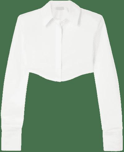 White Cropped Cotton-Poplin Shirt-The Attico