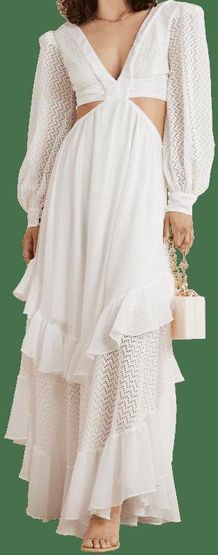 White Cutout Tiered Crochet-Knit Maxi Dress-PatBo