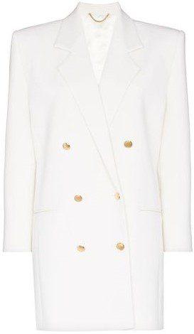 White Double-Breasted Blazer Dress-Magda Butrym