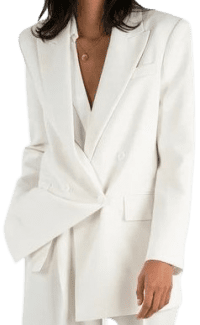 White Elvira Double Breasted Suit Blazer-The Frankie Shop