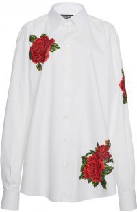 White Embroidered Crepe Blouse