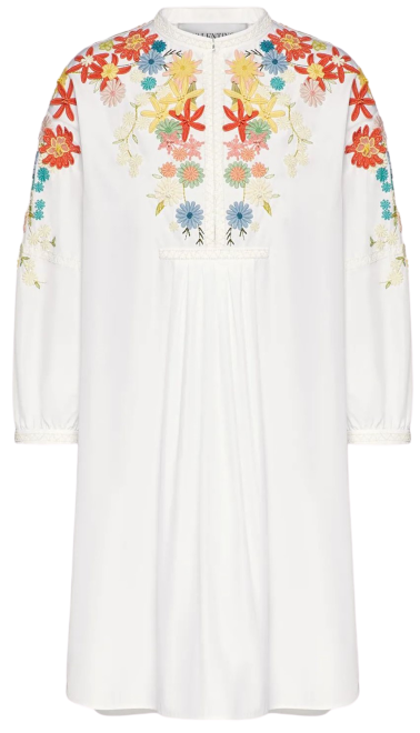 White Embroidered Technical Poplin Dress-Valentino