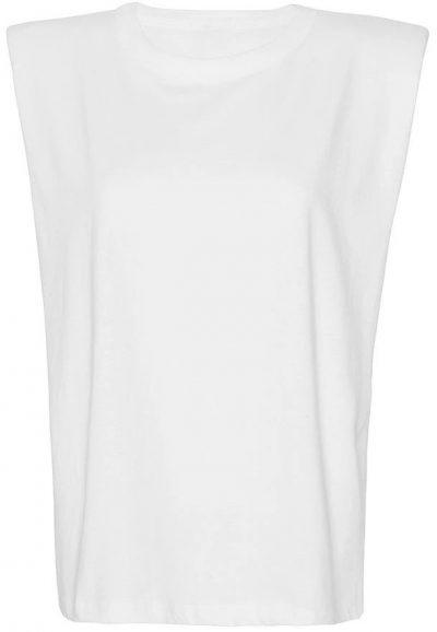 White Eva Padded Shoulder Muscle T-Shirt-Frankie Shop