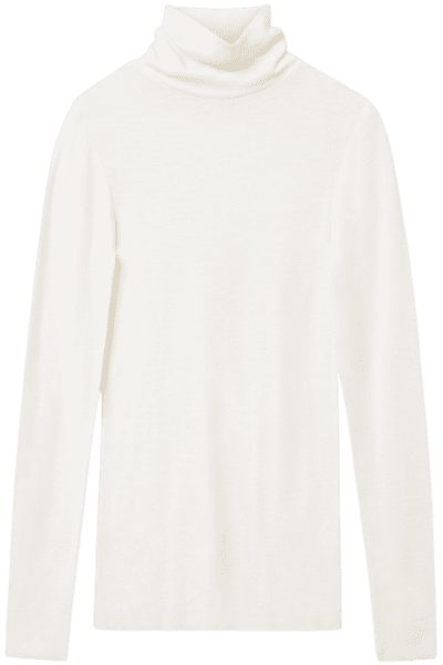 White Fine Roll-Neck Wool Top