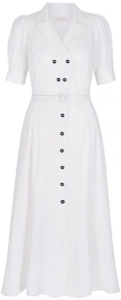 White Flippy Wiggle Dress-Suzannah