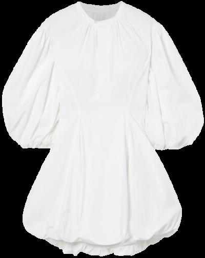White Gathered Cotton-Poplin Mini Dress