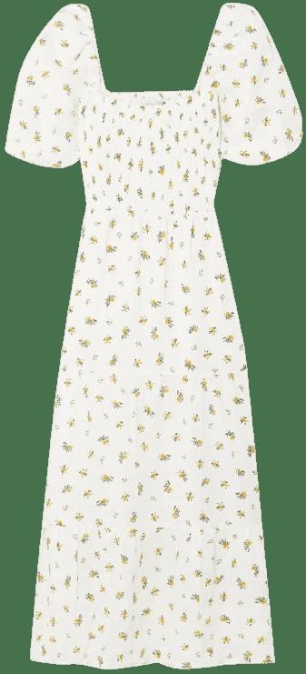White Gianna Floral-Print Linen Midi Dress-Faithfull The Brand