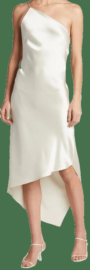 White Guinevere Asymmetric One-Strap Dress-Deveaux New York