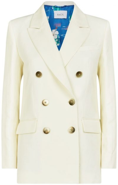 White Harry Double Breasted Wool Blazer-Racil