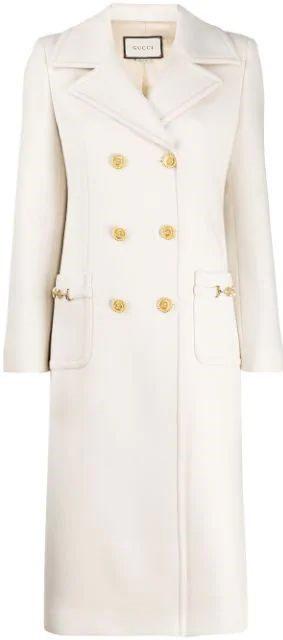 White Horsebit Details Coat