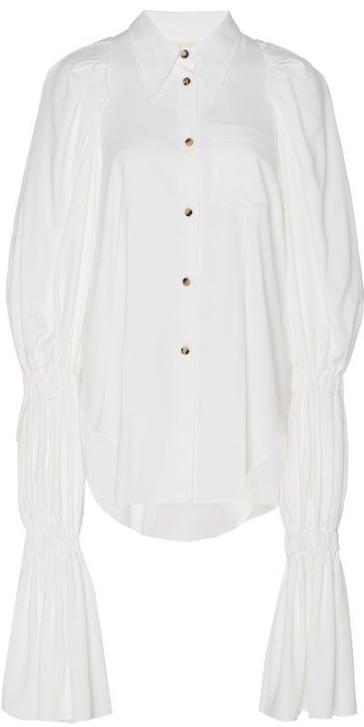 White Leith Ruched Poplin Shirt