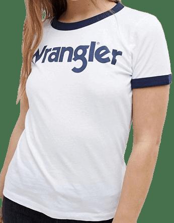 White Logo Ringer T-Shirt-Wrangler
