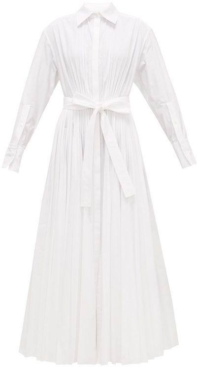 White Pleated Maxi Shirt Dress
