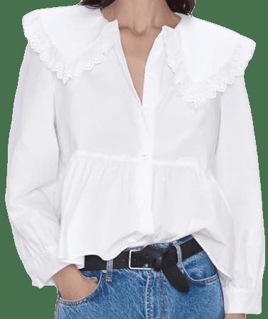 White Poplin Blouse-Zara