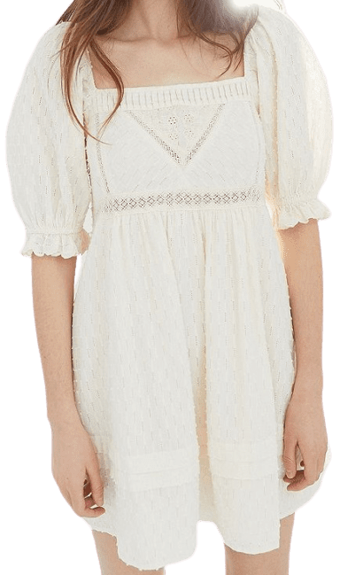 White Puff Sleeve Babydoll Dress-Urban Outfitters