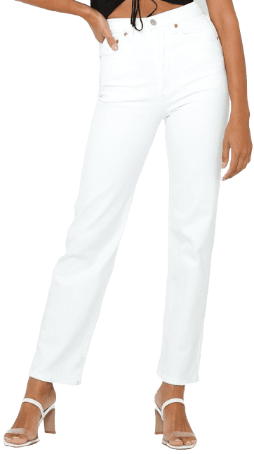 White Ribcage Straight Ankle Jeans -Levi's