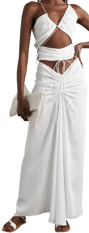 White Ruched Cutout Maxi Dress-Christopher Esber