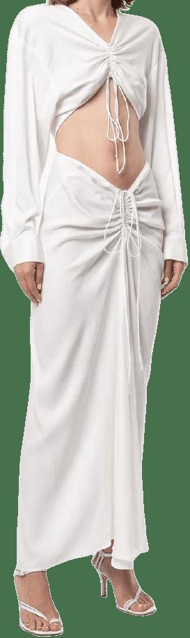 White Ruched Knit Dress-Christopher Esber