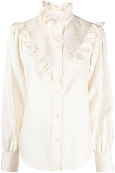 White Ruffle Trim Pleat-Detail Shirt-Victoria Beckham