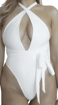 White Sarah One Piece Bikini-Nude Swim