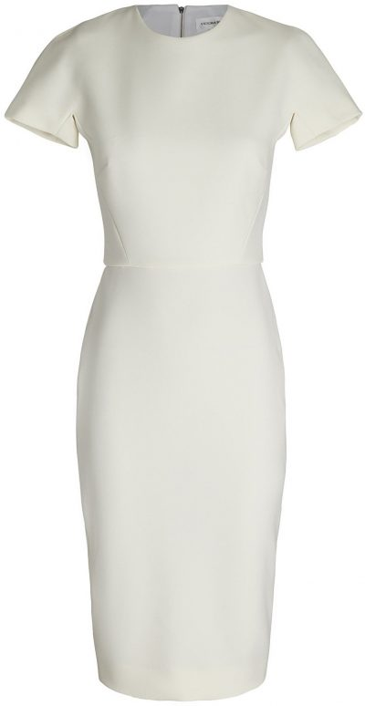 White Short Sleeve Crepe Sheath Dress-Victoria Beckham
