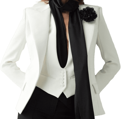 White Single-Breasted Crepe Blazer-Alexandre Vauthier