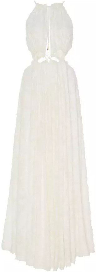 White Thera Flocked Georgette Maxi Dress-Cult Gaia
