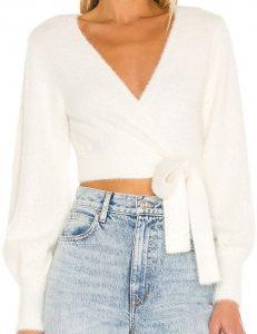 White Valencia Wrap Sweater-Majorelle