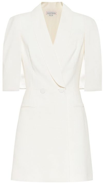 White Wool And Silk-Blend Crêpe Mini Dress