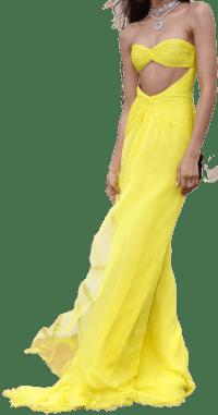 Yellow Force De Beauté Chiffon Couture Dress-Valentino