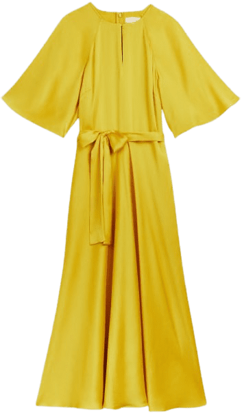 Yellow Hariiet Raglan Sleeve Tea Midi Dress-Ted Baker