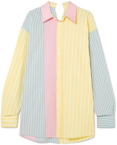 Yellow Oversized Striped Cotton Shirt-Marni