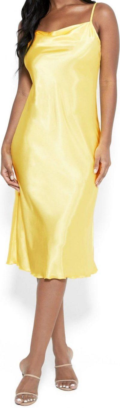 Yellow Satin Cowl Neck Slip Midi Dress-Bebe