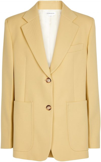 Yellow Single-Breasted Wool Blazer-Victoria Beckham