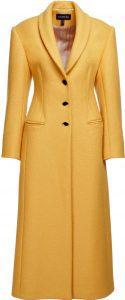 Yellow Wool Shawl Lapel Coat