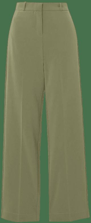 Army Green Basil Crepe Straight-Leg Pants-Paris Georgia