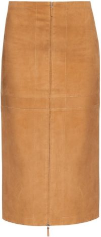 Beige Amika Suede Skirt-The Row