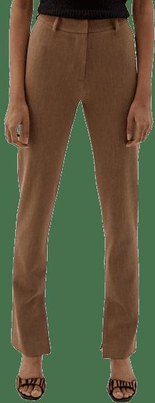 Beige Bottom Side Slits Trousers