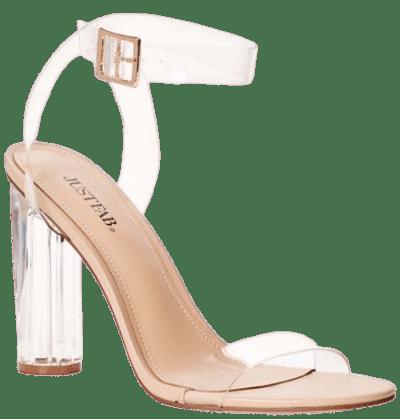 Beige Hanna Transparent Heeled Sandal-JustFab