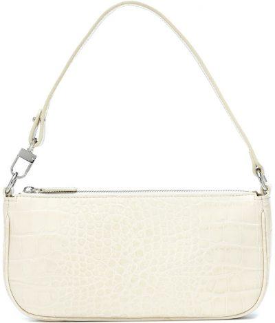Beige Rachel Croc-Effect Leather Shoulder Bag-By Far