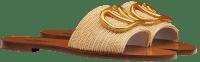 Beige Raffia Slide Sandals