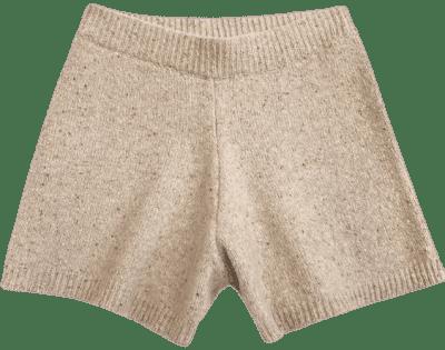 Beige Wool Blend Shorts